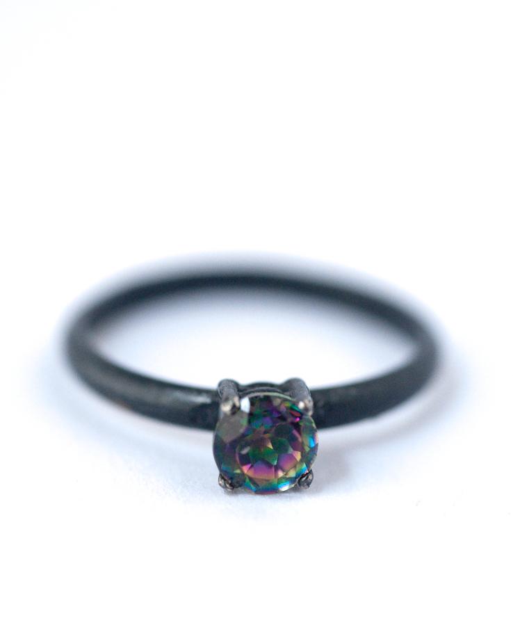 Natural Mystic Topaz Ring – Oxidized Silver Ring | Lovegem Studio