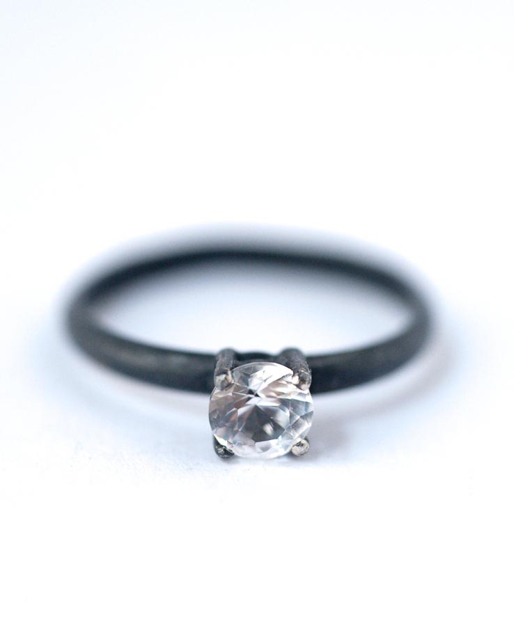 White Sapphire Ring – Oxidized Silver Ring | Lovegem Studio