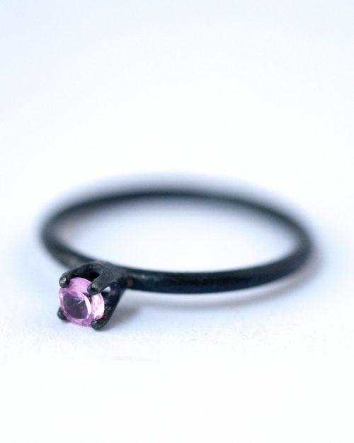 October Birthstone Ring - Pink Sapphire Oxidized Silver Ring | LoveGem