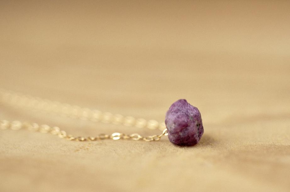 gold filled raw ruby necklace lovegem studio-2