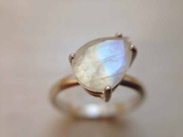 Moonstone Ring in Pear Shape - LoveGem Studio